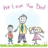 Vi amiamo cartolina d'auguri di gioco da ragazzi di festa del papà del papà Fotografie Stock