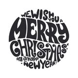 Vi auguriamo la tipografia del buon anno e di Buon Natale immagine stock libera da diritti