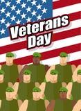 vi förseglar och banerillustrationdesignen Amerikanska soldater är på bakgrund av enig statistik Royaltyfri Fotografi