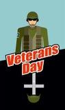 vi förseglar och banerillustrationdesignen Soldater och gravvalv Patriotisk beröm av Americ Royaltyfri Bild