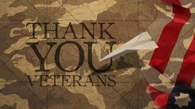 vi förseglar och banerillustrationdesignen Tacka dig veteran Royaltyfria Bilder