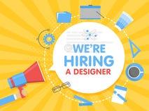 Vi hyr en formgivare Illustration för megafonbegreppsvektor Banermall, annonser, sökande för anställda som hyr graphick stock illustrationer