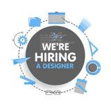 Vi hyr en formgivare Illustration för megafonbegreppsvektor Banermall, annonser, sökande för anställda som hyr graphick royaltyfri illustrationer
