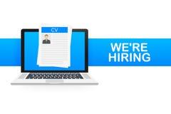 Vi hyr Rekryteringbegrepp Hyra arbetare, primaa arbetsgivare söker laget för jobb Meritförteckningsymbol också vektor för coreldr royaltyfri illustrationer