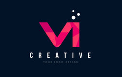 VI logotipo de la letra de V I con concepto rosado polivinílico bajo púrpura de los triángulos Imagenes de archivo