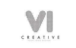 VI logotipo de la letra de V I con los puntos y los rastros negros Imagenes de archivo
