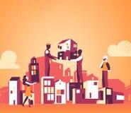 Vi planlägger vår stad för ett bättre i morgon vektor illustrationer