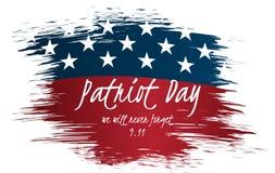 Vi ska glömma aldrig design för etikett för patriotdagtappning 9/11 patriotdagbakgrund, Arkivbild