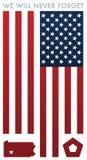 Vi ska glömma vektoraldrig illustrationen för minne 9-11 stock illustrationer