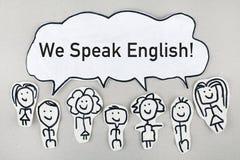 Vi talar engelska/talande begrepp för kommunikation royaltyfri fotografi