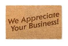 Vi uppskattar din affärsvälkomnande Mat On White royaltyfria foton