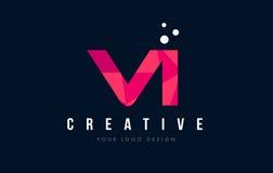 VI V我在与紫色低多桃红色三角概念的商标上写字 库存图片