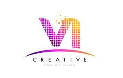 VI V I Brief Logo Design met Magenta Punten en Swoosh Royalty-vrije Stock Afbeelding