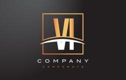 VI V I Gouden Brief Logo Design met Gouden Vierkant en Swoosh Stock Foto's