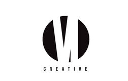 VI V I Witte Brief Logo Design met Cirkelachtergrond Stock Fotografie