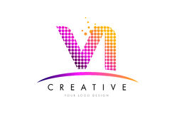 VI V Piszę list loga projekt z Magenta kropkami i Swoosh Obraz Royalty Free