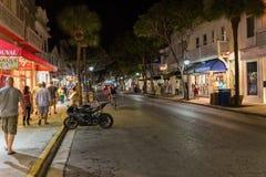 Via alla notte, Key West, FL di Duval Immagine Stock