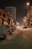 Via alla notte sotto neve Fotografia Stock Libera da Diritti