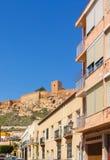 Via Almeria con Alfonso Alcazaba, Almeria Spain Fotografie Stock Libere da Diritti