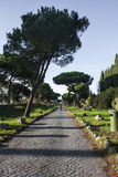 Via Appia Antica, gammalt vägbyggande av forntida Romans royaltyfri bild