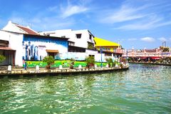 Via art. Melaka, Malesia Fotografia Stock Libera da Diritti