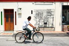 Via Art Mural a Georgetown, Penang, Malesia Fotografia Stock Libera da Diritti