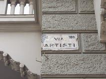 Via artisti sign in Turin Stock Photos