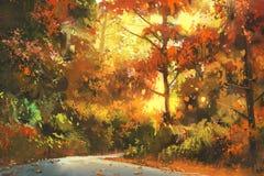 Via attraverso la foresta variopinta illustrazione vettoriale