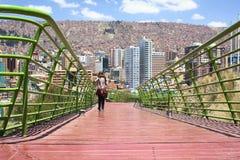 Via Balcon den fot- banan i La Paz, Bolivia Royaltyfri Bild