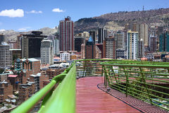 Via Balcon den fot- banan i La Paz, Bolivia Arkivfoton