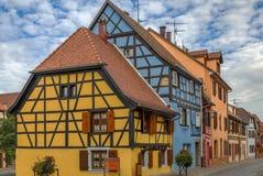 Via in Bergheim, l'Alsazia, Francia Immagini Stock