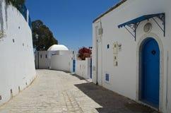 Via bianca e blu, Sidi Bou Said, Tunisia Fotografia Stock Libera da Diritti