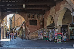 Via Cairoli - Ravenna. Walking through the archway from Piazza del Popolo to Via Cairoli in Ravenna, Italy - 17 September 2011 stock photo