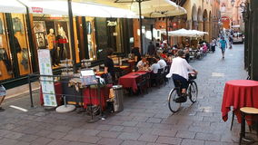 Via caprarie street Bologna italy. Bologna, Italy - August 2016: via caprarie downtown street stock footage