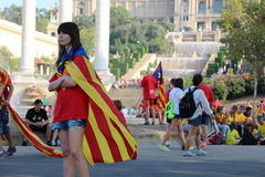The Via Catalana, 11.09.2014. The manifestation Via catalana or Diada de Catalunya, held on 11.09.2014. in support of the referendum for the catalan Stock Photography