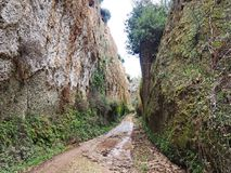 Via Cava, an ancient Etruscan road carved through tufo cliffs in Tuscany. An ancient via cava created by the Etruscans in the countryside of Tuscany near the Royalty Free Stock Images