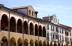 Via Cesatotti and two old buildings next to the Basilica of St. Anthony in Padua in the Veneto (Italy). Photo made at Via Cesarotti palaces, the way that is next Royalty Free Stock Photo