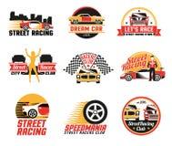 Via che corre Logo Emblems Icons Set Immagine Stock