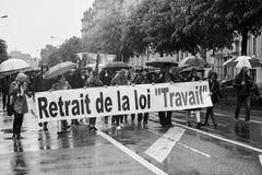 Via chiusa alla protesta contro le riforme del lavoro della Francia Fotografie Stock