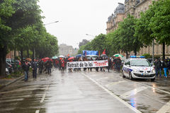 Via chiusa alla protesta contro le riforme del lavoro della Francia Immagine Stock Libera da Diritti