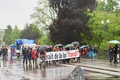 Via chiusa alla protesta contro le riforme del lavoro della Francia Fotografia Stock Libera da Diritti