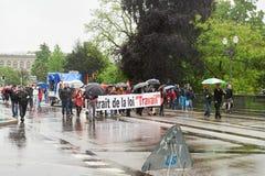Via chiusa alla protesta contro le riforme del lavoro della Francia Immagini Stock Libere da Diritti