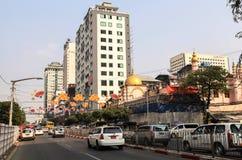 Via in città concentrare a Rangoon Fotografia Stock Libera da Diritti