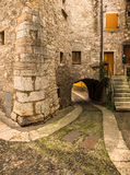 Via Cobbled vecchia in Italia fotografie stock libere da diritti