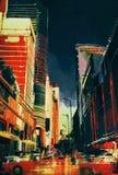 Via con gli edifici per uffici, illustrazione della città Fotografie Stock