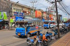 Via con i bus, Tailandia Immagine Stock Libera da Diritti