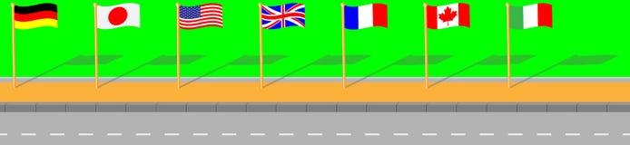 Via con il G7 della bandiera Fotografia Stock