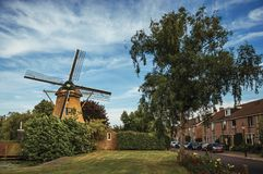 Via con il mulino a vento di legno, i cespugli frondosi, il prato inglese verde e le case sotto cielo blu soleggiato a Weesp Fotografia Stock