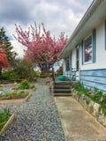 Via concreta sopra l'iarda anteriore della casa residenziale fotografia stock