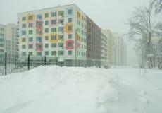 Via coperta di neve caduta Fotografie Stock Libere da Diritti